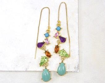 Gemstone Threader Earrings, Pull Through Earrings, Gold Threader Earrings, Gold Chain Threader Earrings, Ear Threads Colorful |EC2-22