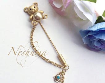 Cute Teddy Bear Baby Pin, Stroller Pin, Baby Evil Eye Pin, Stroller Pin, Baby Brooch, Teddy Bear Brooch, Baby Shower Gift