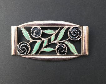 Art Deco Enamel Flower Brooch