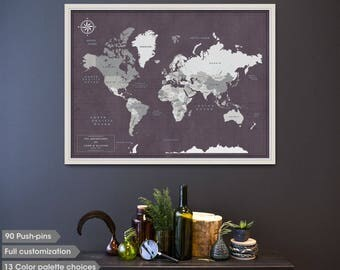 Personalised Push Pin Map Of The World   Framed Map With Push Pins    Anniversary Gift