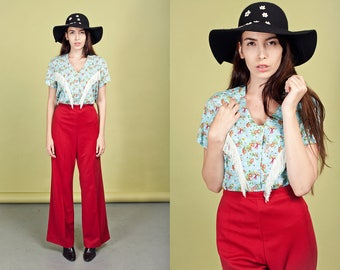 70s Dark Red Wide Leg Pants Vintage Wine High Waisted Knit Pants