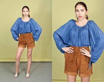 70s Caramel Suede Cuffed Shorts Vintage Brown High Waisted Shorts