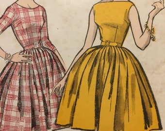Original 1950s Weldons Pattern No. 8174 Misses Size for a full skirted dress