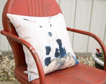 Goat Throw Pillow Featuring Cornelius from Short Leg Farm