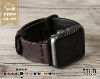Apple Watch Band Leather Watch Band Minimal in Dark Brown Espresso Color 42mm 38mm Series 1 and 2 [Handmade] [Custom Colors]