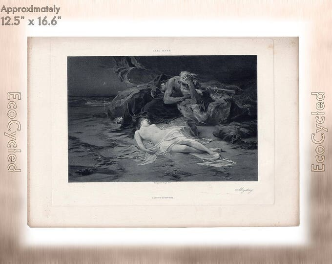 Mystery by Carl Marr Antique Photogravure The Mystery of Life von Marr Print Goupil Vintage Paper Ephemera  zyxG9