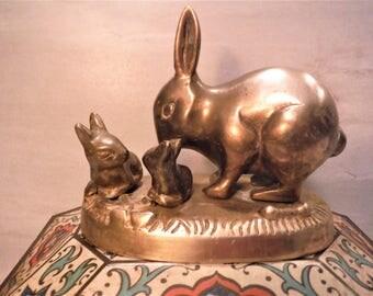 Brass rabbit, Brass mama rabbit, twin gift, Twin bunnies, vintage brass rabbit, woodland decor, parent and babies, twin nursery decor
