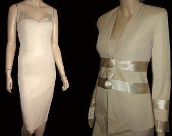 UNWORN 80s KAREN LAURENCE Formal Dress Suit Bust 34 in Satin & Crepe - Pastel Peach - Prom - Mother of Bride - Easter