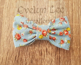 Blue with Multi Coloured Flowers Hair Bow