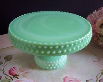 Jadeite Cake Stand - L. E. Smith Jadeite Hobnail Cake Stand - Hobnail Green Milk Glass Cake Stand - Smith Jadeite Cake Stand - Smith Jadeite