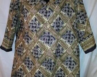 "SPRING CLEARANCE SALE 70s Vintage Men Aloha Shirt-4Xl-58"" Chest-4X-Big Man Hawaii-Tiki Print-Hawaiian Indonesian Resort Luau Cruise Beach"