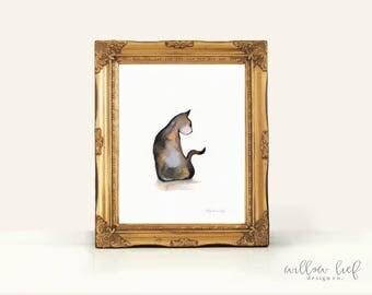 Cali, Calico Cat, Cat art, Cat painting, kitten, Minimal black and brown, wall art
