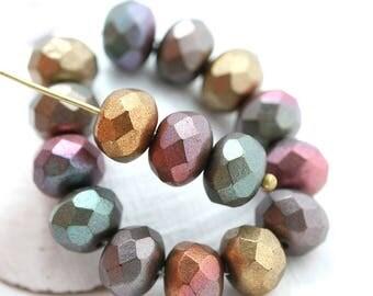 6x9mm Matte Metallic rondelle beads mix, Golden, Purple, Brown czech glass rondels, gemstone cut, fire polished - 12pc - 2835