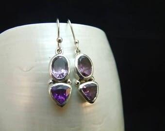 Handmade Faceted Amethyst Gemstone Sterling Silver Earrings