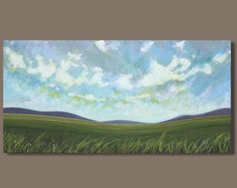 FREE SHIP abstract painting, panoramic painting, landscape painting, field, meadow field pastoral farmland, clouds, cloud painting on canvas