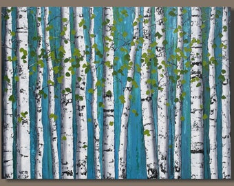 large birch tree painting, large abstract painting, birch trees, landscape painting, blue forest, aspens, tree painting, large wall art