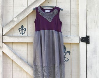 Bohemian dress S, bridal dress, purple gray lace dress vintage, boho chic gray
