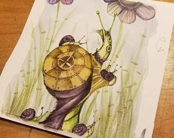 Snail mama, watercolor original art work, snails in purple, snail babies, birthday gift