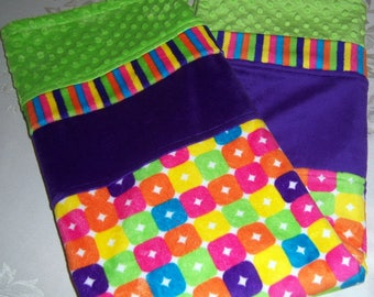 Vibrant Multi-Color Checkers Minky Baby Blanket W/ Lime Green & Purple Bands