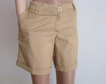 Beige Shorts,Summer Shorts, Vintage Shorts, Mom Cotton Large Low Waisted Beige Striped Shorts, Casual shorts, Vintage 95s, Size 10 Size 12