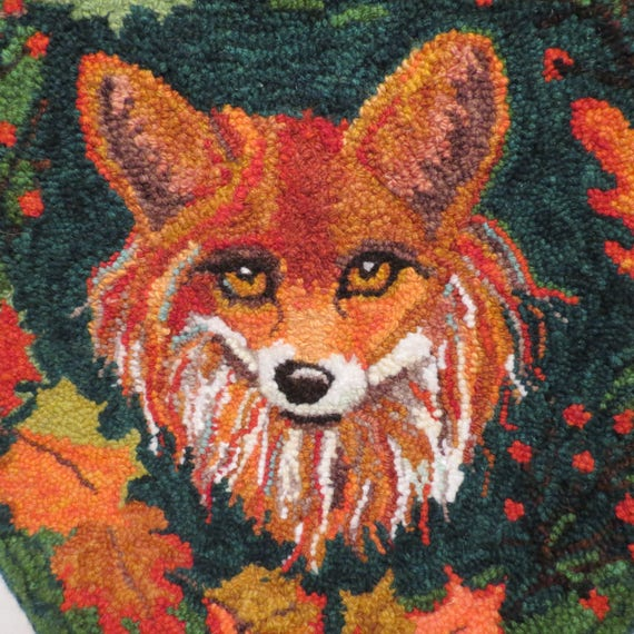 "MR FOX Fine Punch Needle Rug Hooking Pattern on Monk's Cloth or Linen 17"" diameter Chair Pad"