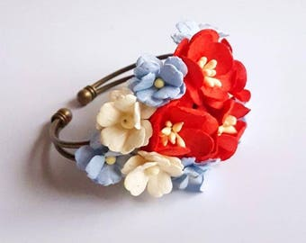 Red, Blue and ivory prom corsage - custom corsage - Bespoke - bracelet - wrist -  keepsake  - mother's - bridesmaid corsages