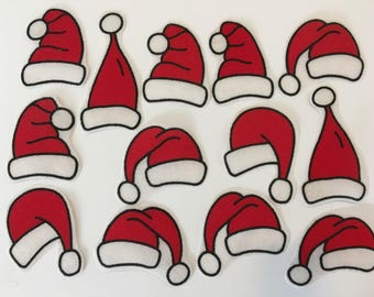 Santa Iron on Patch Fabric Applique motifs. Set of Christmas Sew or Iron on transfers/Sew on motifs Fabric Embellishments Father Christmas