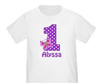 ON SALE 1st Birthday Purple Butterfly Personalized Birthday Shirt - ANY Age