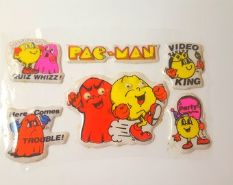 Very Rare Pac Man Vintage 1980's Puffy Stickers Oversized Unsealed