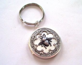Ornate Silver Bee Locket Keychain, Antiqued Silver Honeybee Locket, Large Round Silver Locket Key Chain, Silver Plated Key Ring