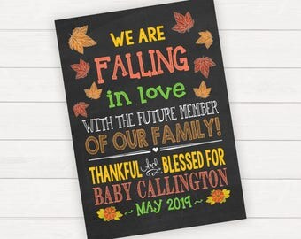 Fall Pregnancy Announcement  Pregnancy Announcement Card Pregnancy Reveal Baby Announcement Fall In Love Pregnancy Photo Prop Announcement