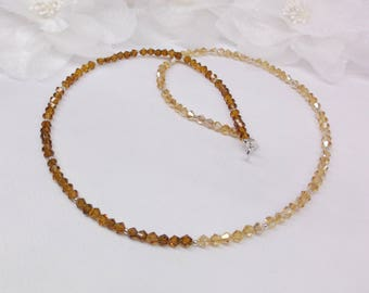 Ombre Necklace Topaz Necklace Crystal Necklace Brown Necklace Gold and Brown Necklace Adjustable Necklace Sterling Silver BuyAny3+Get1Free