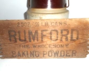 Antique Box Sign, Rumford Baking Powder, Kitchen Sign, Vintage Box End