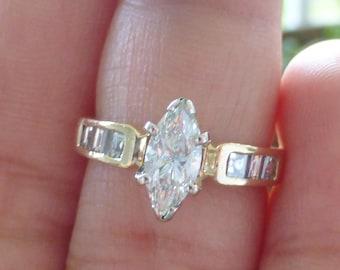 Very high quality 14k Marquise, emerald cut, asscher cut diamond engagement ring 5.25