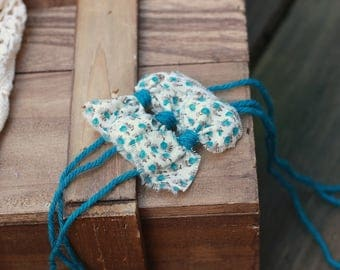 ready to ship, newborn baby photography prop, tieback halo with small flower bow, teal cream taupe, baby photo prop,  luxury prop