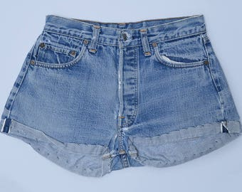 60s Levis BIG E Redline Single Stitch Indigo Wash Cut-off Jean Shorts W26
