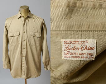 1940s Hercules Sanforized Army Twill Gusseted Button Down Workwear Khaki Army Shirt