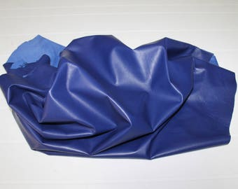 Italian very soft Lambskin lamb leather skin skins hide hides BLUE 7+sqf