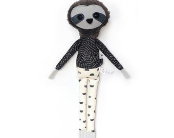 Simon Sloth - Softie, plush doll, heirloom, animal doll, nursery decor, toy