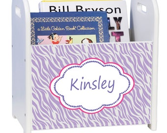 Personalized Lavender Zebra White Book Caddy and Rack Animals Print Lavender Purple  cadd-pat-414