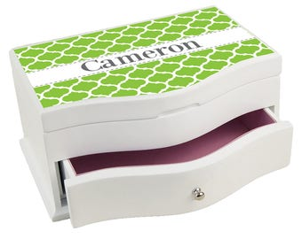 Personalized Moroccan Lime w White Deluxe Jewelry Box Color Pattern Art Deco Carivan jewef-pat-432