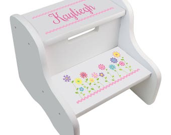 Personalized stool etsy personalized step stool for girls custom stepping stools toddler two step white new born baby shower negle Image collections