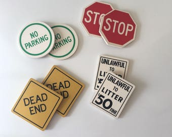 Vintage Cork Drink Coasters America Traffic Sign - Driving Symbol / Road Signs Cork Coaster Set