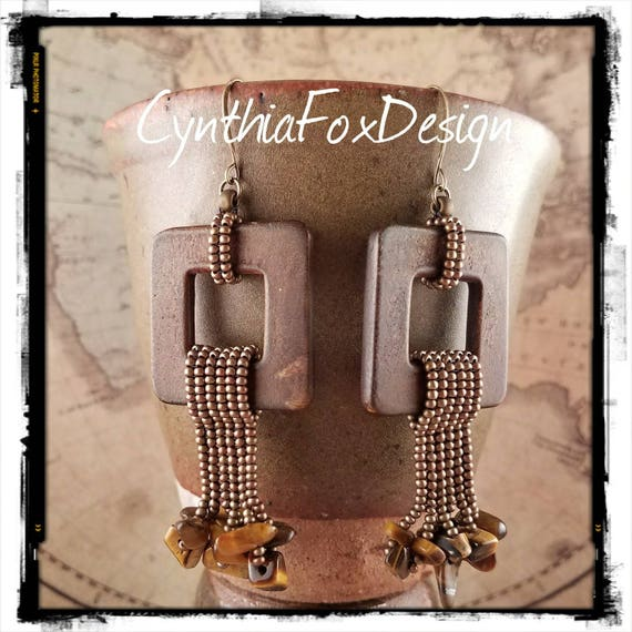 Safari Jewelry, Beaded Smooth Square Horns with Tigers Eye Fringe