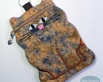 Cat Cell Phone Case or Zipper Case, Caramel Brown