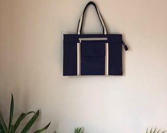 Vintage 1970s 1980s Navy Blue Handbag Zipper Detail 8 Compartment Purse