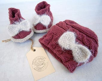 Baby girl hat and shoes set, newborn baby girl hat and shoes set, newborn set