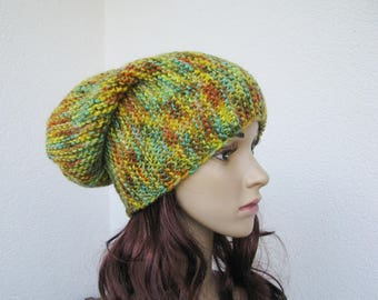 hand knitted slouchy multicolor ribbed hat, teens womens soft beanie, green, yellow, orange, turquoise