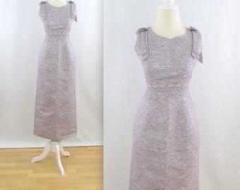 SALE Starlight Evening Dress - Vintage 1960s Formal Wiggle Dress in Silver + Mauve - Size Medium