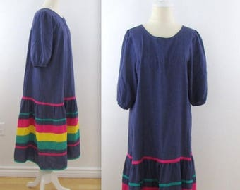 SALE Rainbow Chambray Peasant Dress - Vintage 1970s Farmhouse Dress in Large xLarge by Appel